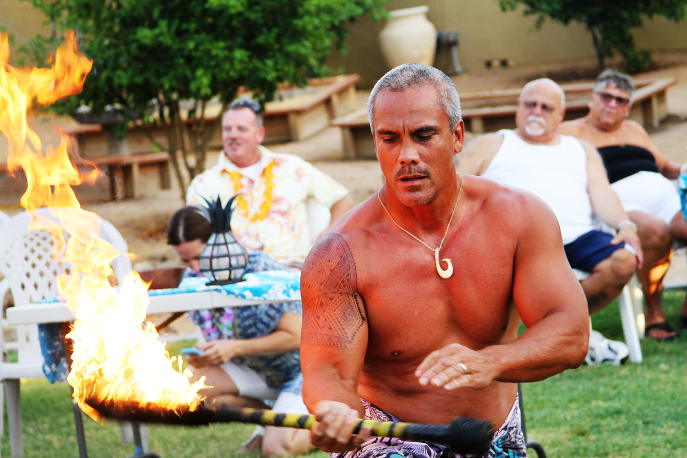 At our annual Luau you will find Paul the fire dancer showing off his skills to the crowd.